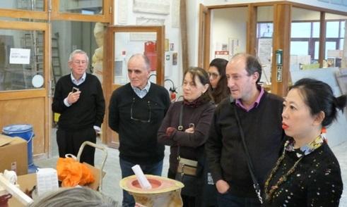 Quelques uns de membres de l'AJP à la visite de l'Atelier de moulage.